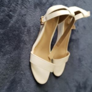 White low wedge sandals